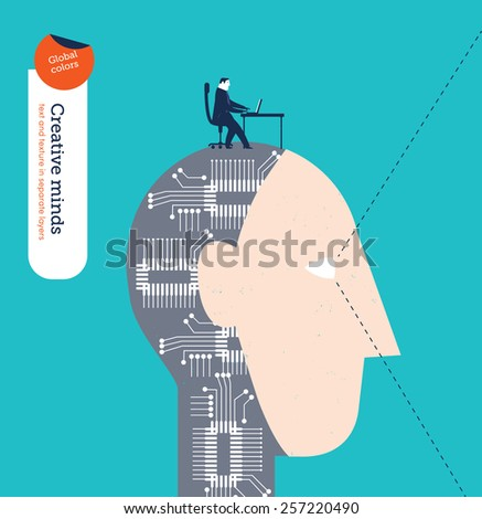 Robotic head with businessman and laptop. Vector illustration Eps10 file. Global colors. Text and Texture in separate layers. - stock vector