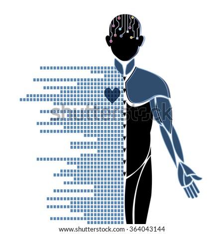 Robotic Male futuristic research developments  - stock vector
