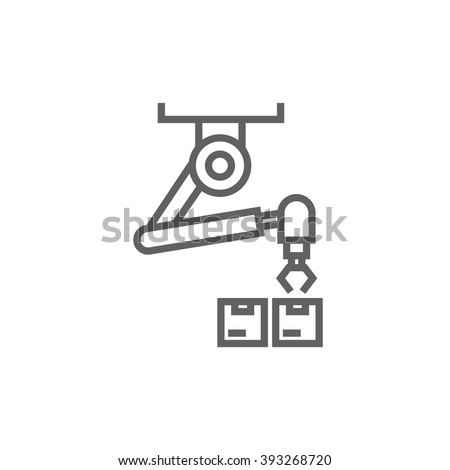 Robotic packaging line icon. - stock vector