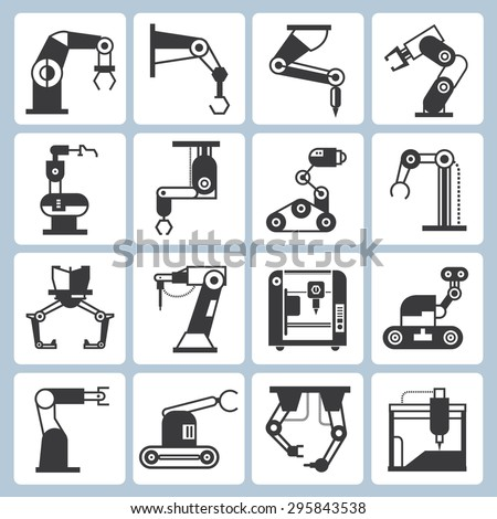 robotics technology and and automation icons - stock vector