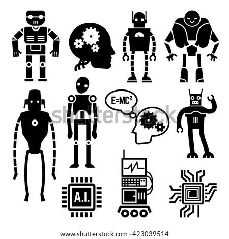 Robots and cyborgs, androids and artificial intelligence vector icons. Machine cyborgs with artificial intelligence and toy androids with  - stock vector