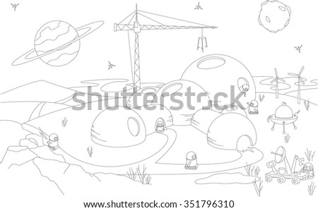Robots build a futuristic building on the planet. Coloring book. Vector illustration - stock vector