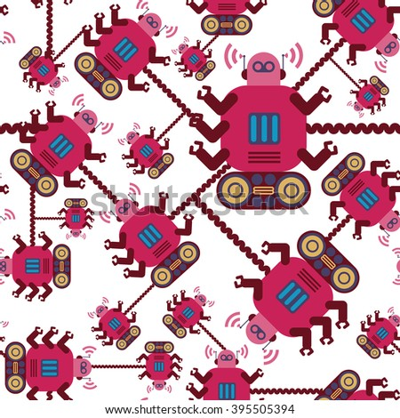Robots color seamless pattern on white background. - stock vector