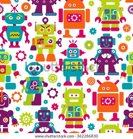 Robots color seamless pattern. Texture with funny toy for baby. Can use for production for children. - stock vector