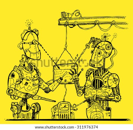 Robots do robots at factory. Illustration in cyberpunk style - stock vector