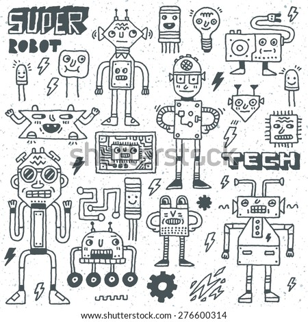 Robots,Electrical, Circuits, Microschemes.Cool and cute funny vector set 2. Hand drawn illustration. Monochrome pattern.