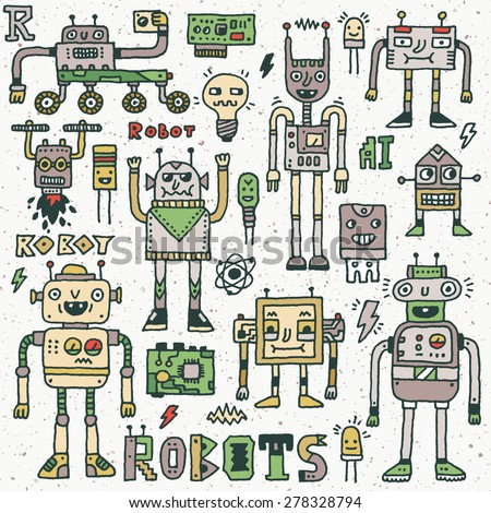 Robots,Electrical, Circuits, Microschemes.Cool and cute funny vector set 1. Hand drawn illustration. Colorful pattern. - stock vector