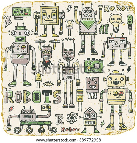 Robots,Electrical, Circuits, Microschemes.Cool and cute funny vector set 1. Vintage Texture. Vector Illustration. - stock vector