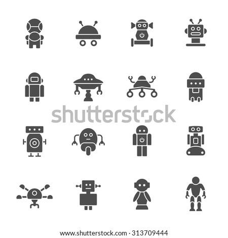 Robots icon set - stock vector