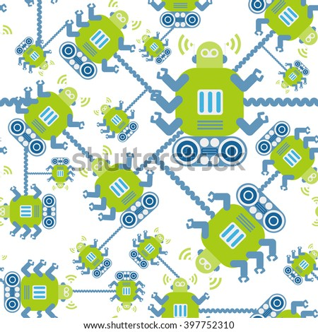 Robots light green color seamless pattern on white background. - stock vector
