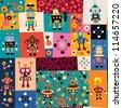 robots pattern - stock vector
