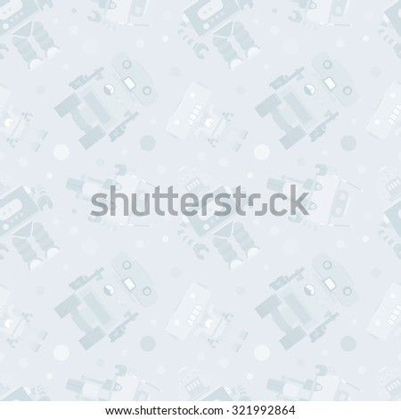 Robots seamless pattern against the pale-blue background. The layout is fully editable - stock vector