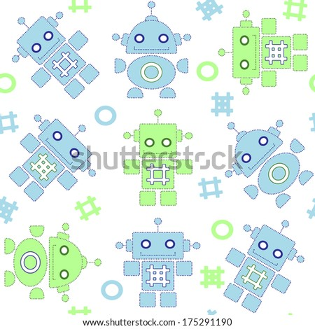 Robots seamless pattern in blue and green colors - stock vector