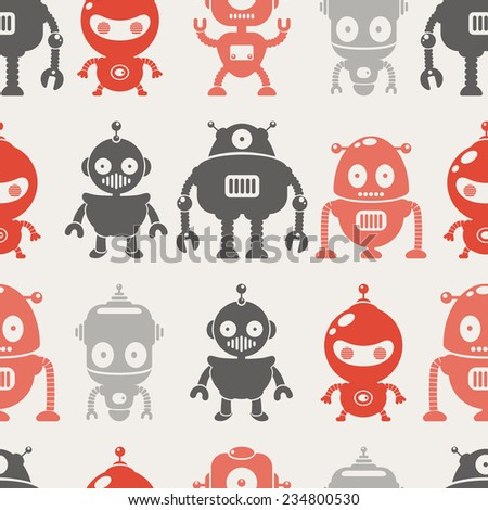 Robots. Seamless vector pattern. Vintage style - stock vector