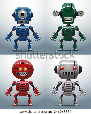 Robots set, vector - stock vector