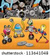 Robots with background. Cartoon and vector illustration. - stock photo