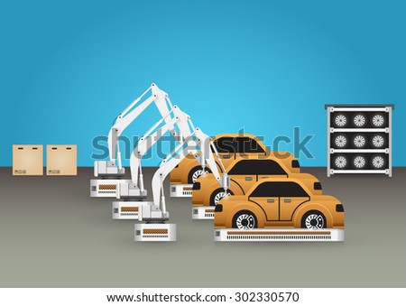 Robots working with auto part with blue background. - stock vector