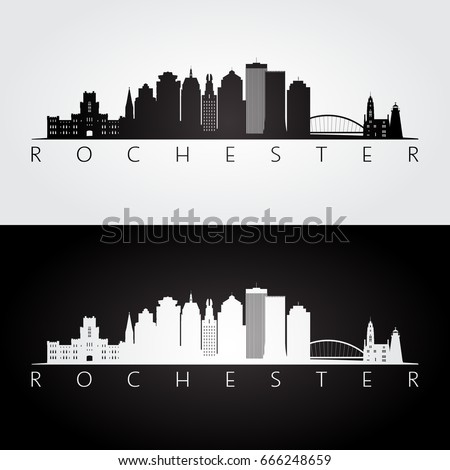 Rochester usa skyline and landmarks silhouette black and white design vector illustration