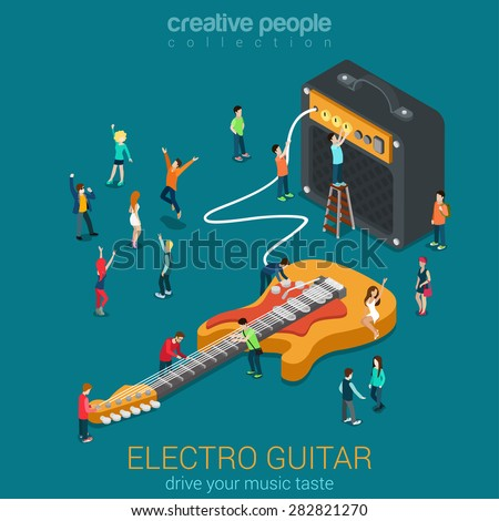 Rock acoustic bass guitar amp combo and micro people flat 3d web isometric infographic vector. Rock music equipment concept. Creative people world collection. - stock vector