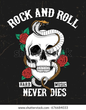 Rock and roll graphic design with skull, roses and snake illustration for t-shirt and other uses.