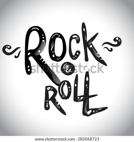 Rock and Roll Lettering. Vector Illustration