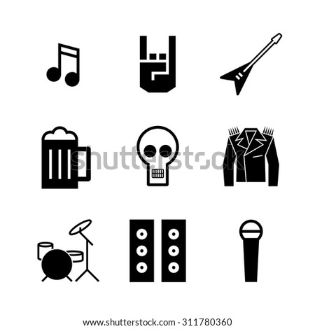 Rock and roll music icons. Music festival - stock vector
