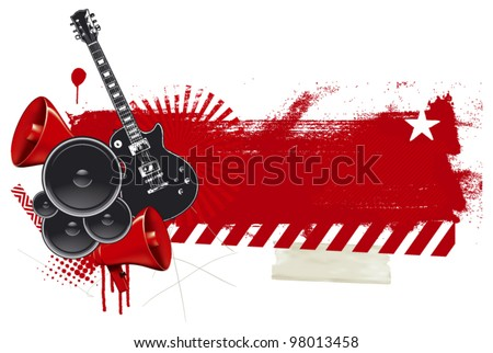 rock and roll poster with grunge red banner - stock vector