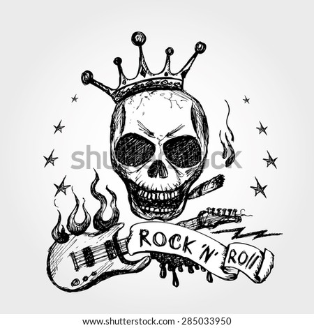 Rock and roll skull guitar . Hand drawing. Vector. - stock vector