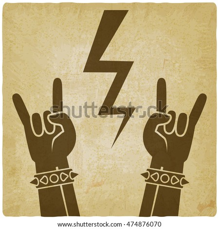 rock and roll symbol old background. concept of rock festival. vector illustration - eps 10
