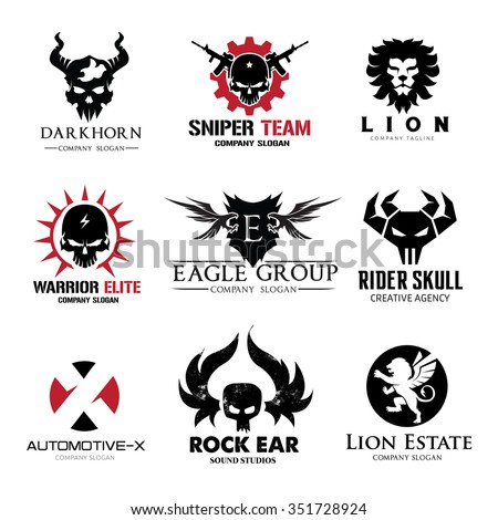 Rock and skull logo collection,animal logo set,lion logo,tattoo logo set,vector logo template - stock vector