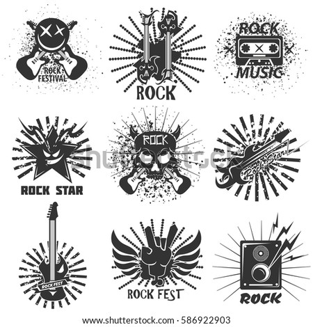 Rock Band Logo Templates Symbols Electric Stock Vector Royalty Free