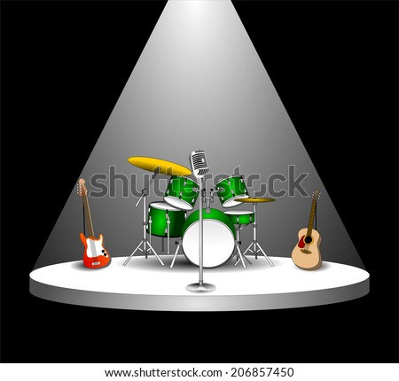 Rock Band musical Instruments with microphone on empty performance stage under the light of spotlight before the show. podium in the dark. vector art image illustration, isolated on black background - stock vector