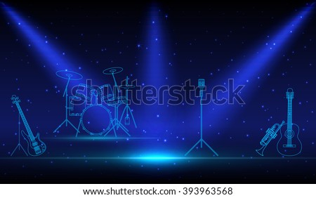 Rock Band musical linear Instruments with microphone on empty performance stage under the light of spotlight before the show. podium in the neon light. Concept, vector art image illustration - stock vector