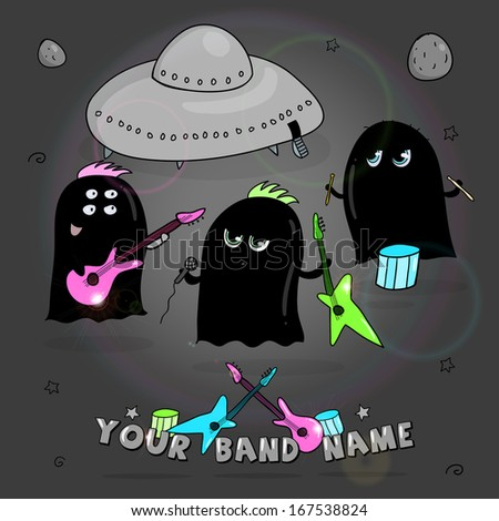 Rock band of cute black aliens - stock vector