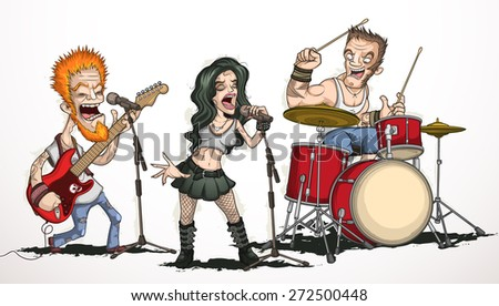 Rock band of three musicians - stock vector