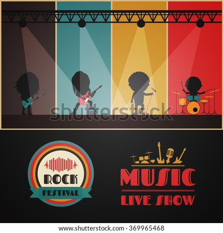 rock band on stage, retro music poster - stock vector