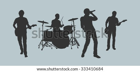 Rock band outlines - stock vector