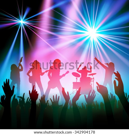Rock band performing in front of a crowd. Vector illustration - stock vector
