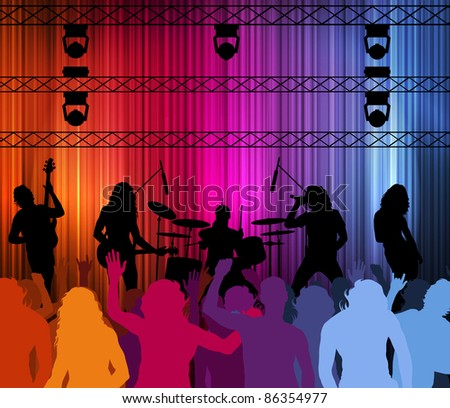 Rock band vector background with neon lights and people - stock vector