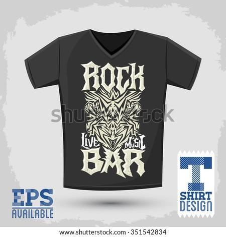 Rock Bar T shirt design template, silkscreen metal style vector lettering  - stock vector