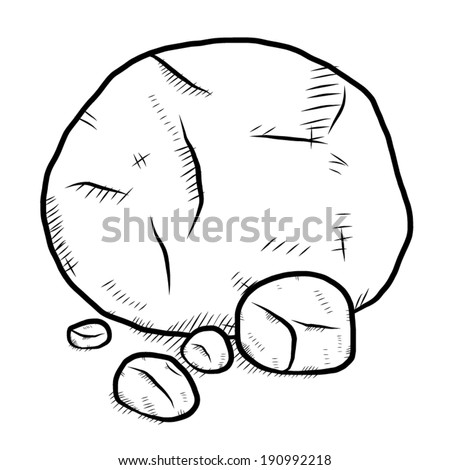 rock / cartoon vector and illustration, black and white, hand drawn, sketch style, isolated on white background.