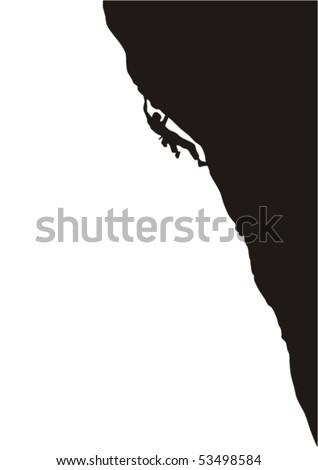 Rock climber's silhouette - stock vector