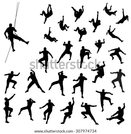 Rock climber silhouettes - vector set - stock vector