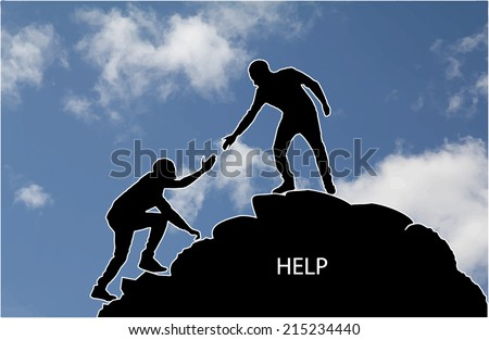Rock climber with extra word help - stock vector