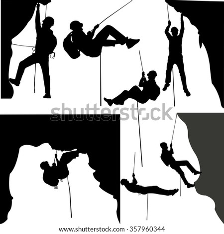 rock climbers silhouette collection - vector - stock vector