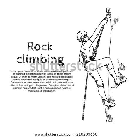 rock climbing - stock vector