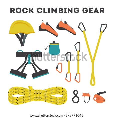 Rock climbing equipment vector illustration with lettering made of rope and equipment on black background - stock vector