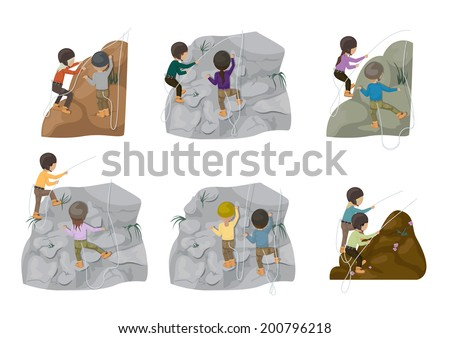 Rock Climbing People - Isolated On White Background - Vector Illustration, Graphic Design Editable For Your Design - stock vector