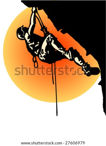 rock climbing vector - stock vector