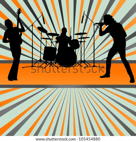 Rock concert band burst background vector - stock vector